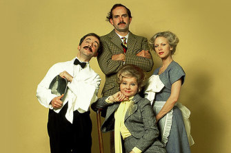 The Fawlty Towers cast: Andrew Sachs as Manuel; John Cleese as Basil; Connie Booth as Polly and Prunella Scales as Sybil.