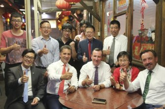WA Premier Mark McGowan, centre, with former Chinese consul-general Dong Zhihua, second from right. Australian Chinese Times owner Edward Zhang and Chung Wah president Ting Chen stand behind him, first and second from right.