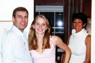 Prince Andrew with the then-Virginia Giuffre at the London townhouse of Ghislaine Maxwell, on right.