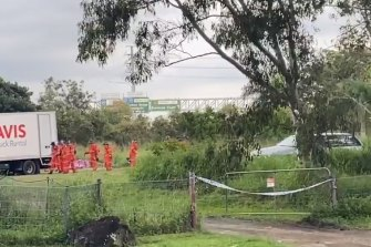 SES personnel search the Taigum property on Wednesday, May 12, after the woman's death on Saturday.