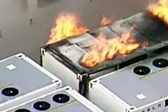 Emergency services issued hazard warnings for nearby residents after a lithium battery caught on fire on Friday afternoon.