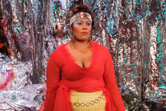 Shakira Clanton, as Queen Marguerite, tries to reconcile King Berenger to his impending doom.