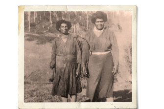Emelda Davis' grandmother, Emily Enares (right), with Lola Noter.