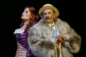 Annie Aitken and Mitchell Butel in A Gentleman's Guide to Love and Murder for The Production Company .