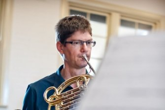French horn player Michael Dixon at the City Recital Hall in Sydney.