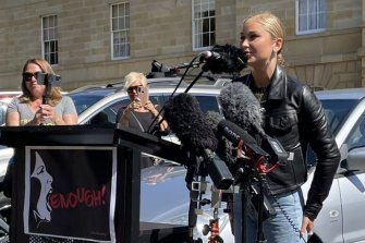 Grace Tame speaking at Hobart's March 4 Justice.
