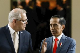 Prime Minister Scott Morrison and the President of Indonesia Joko Widodo.