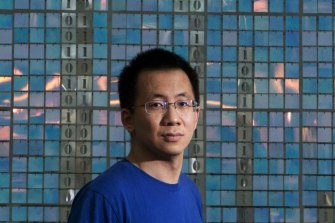ByteDance founder Zhang Yiming at the company's headquarters in Beijing.