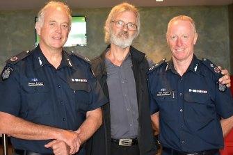 Assistant Commissioner Mick Grainger (left), Ron Fenton and Deputy Commissioner Rick Nugent.