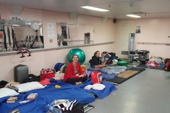 Rescued Mallacoota evacuees set up for the night.