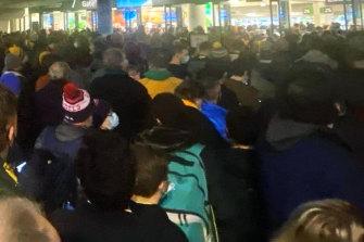 Crowds entering the Wallabies v France match at Melbourne's AAMI Park on July 13.