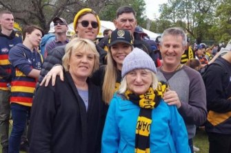 Rosemary Kennedy at a Richmond AFL game with (from left) her daughter Leanne Miles, grandson Zak Kennedy, granddaughter Brodie Miles, son-in-law Andrew Miles (back) and son Robin Kennedy.