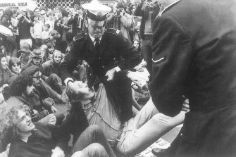 """Andrew Herington (seated bottom left) at the May 1971 """"Day of Rage"""" protest against the Vietnam War in Canberra."""