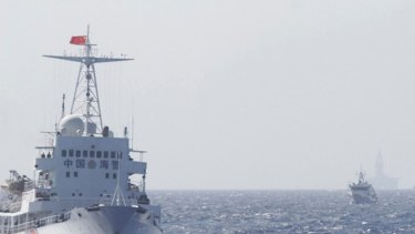 Ships of Chinese Coast Guard near the Chinese oil rig Haiyang Shi You 981 in disputed waters in the South China Sea.