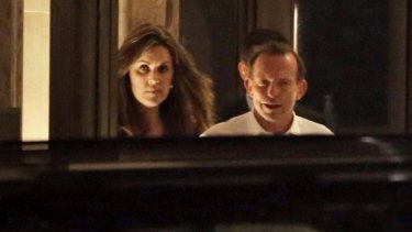 Former prime minister Tony Abbott and his then chief-of-staff Peta Credlin emerge from the lobby of Rupert Murdoch's apartment in Central Park West, New York after private dinner on Tuesday 10 June, 2014.
