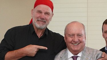 """""""He and I were very close for about six months, until the inevitable falling-out ..."""": Peter FitzSimons with former Wallabies coach and radio personality Alan Jones."""