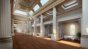 An artist impression of a refurbished Queens Hall at the State Library of Victoria.