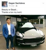 Vocational education salesman Gagandeep Sachdeva with his new Porsche