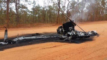 The mustering helicopter crashed and burned after its pilot allegedly struck a cow while herding cattle.