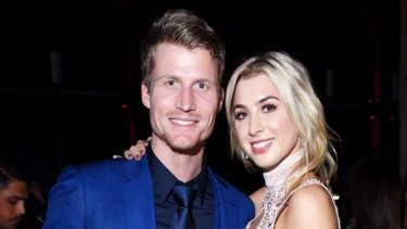 The Bachelor's Richie Strahan and Alex Nation at a party in Sydney last year.