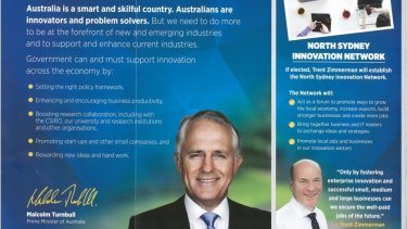 A glossy brochure featuring Prime Minister Malcolm Turnbull and North Sydney candidate Trent Zimmerman.