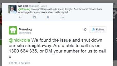 Another Menulog customer complaint on Twitter.