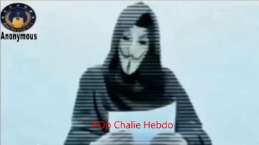 A screengrab of the video posted by hacktivist group Anonymous.