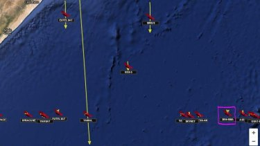 Luch/Olymp outlined in purple on November 23, 2014, over the Indian Ocean.
