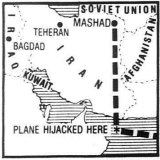 Tear out from The Age, April 6, 1988. A map show the path of the hijacked plane.