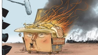 Pope portrayed the rise of Trump as a raging dumpster fire.