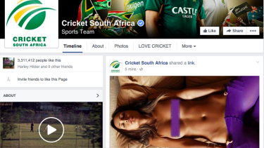 Hijacked: The Cricket South Africa Facebook page was bombarded with unsolicited posts.