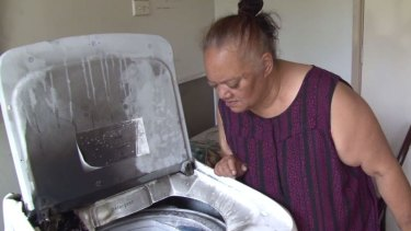 The burnt Samsung washing machine fire in Joanne's Ambarvale home.