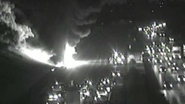 An image of the truck fire from VicRoads traffic cameras.