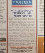 An ad in the Esperance Express seeking witnesses to the priest's abuses.