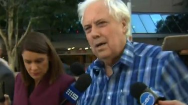 Clive Palmer arrives at the Federal Court in Brisbane to face a hearing into the collapse of Queensland Nickel.