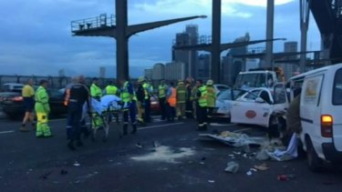 The scene of the crash on the Harbour Bridge on Wednesday morning.