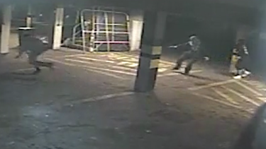 CCTV footage shows Michael Rooke fleeing as shots are fired.