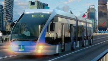 Artists' impression of a Brisbane Metro bi-articulated bus crossing the Victoria Bridge.