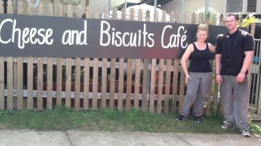 Jessica-Anne Allen and her husband Stephen outside their cafe.