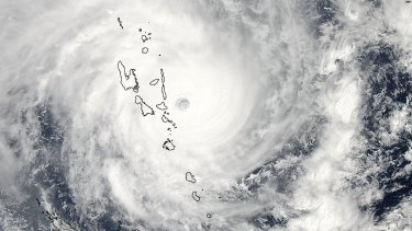 The eye of Cyclone Pam as it passes over Vanuatu.