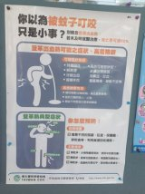 Signs alerting residents as to the symptoms of dengue fever.