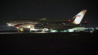 Russian President Vladimir Putin's plane sits on the tarmac at Brisbane Airport.
