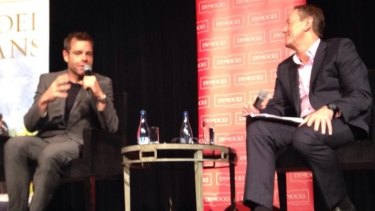 Cadel Evans with host Garry Maddox launches <i>The Art of Cycling</i> at a Dymocks Literary Club event in Sydney this week.