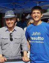Melbourne University Liberal Club president Xavier Boffa (right) with shadow attorney-general John Pesutto.