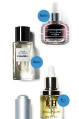 Sisley Black Rose Precious Face Oil, $260. Chanel Huile de Jasmin, $220. Emma Hardie Brilliance Facial Oil, $57. Burt's Bees Complete Nourishment Facial Oil, $3