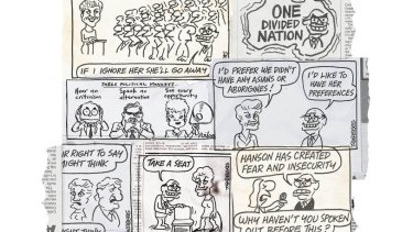 Cartoons by Ron Tandberg and Cathy Wilcox.