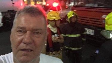 Close call ... Jimmy Barnes at the scene of the massive bomb blast in Bangkok.