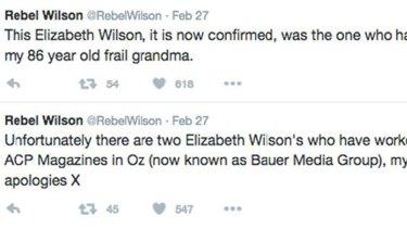 Tweets from Rebel Wilson, tendered in court.
