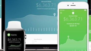 The Acorns app rounds up each purchase you make and stores it in an investment portfolio for you.