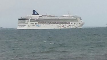 The Norwegian Star as it cleared Point Gellibrand at Williamstown about 1845 hours on Thursday.